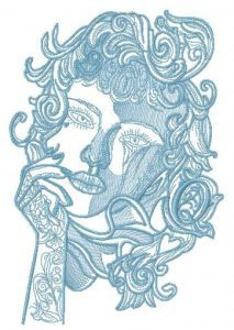 Pensive lady sketch embroidery design