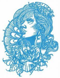 Pensive pretty girl embroidery design