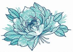 Peony with ornaments embroidery design