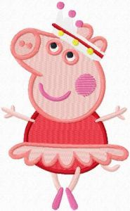 Peppa Pig ballerina embroidery design