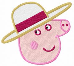 Peppa Pig lady embroidery design
