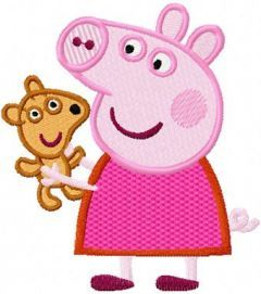 Peppa Pig with Toy embroidery design