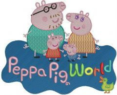 Peppa Pig world embroidery design
