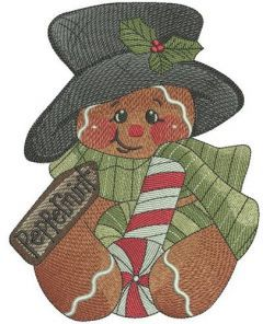 Peppermint gingedbread man embroidery design