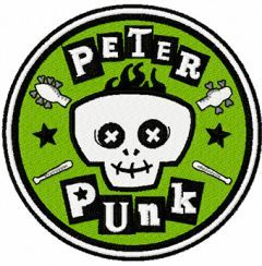 Peter Punk logo machine embroidery design