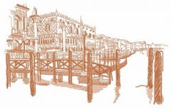 Pier sketch embroidery design