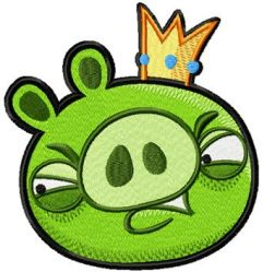 Pig King embroidery design