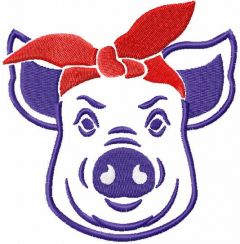 Pig with bandana embroidery design