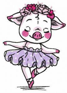 Piggy ballerina embroidery design