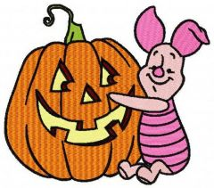 Piglet with pumpkin machine embroidery design
