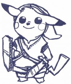 Pikachu blue warrior embroidery design