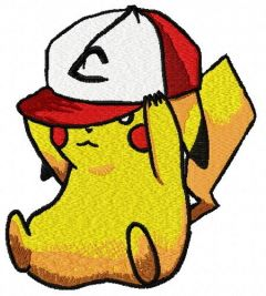 Pikachu in baseball cap 2 embroidery design