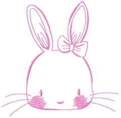 Pink bunny 3 embroidery design