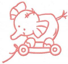 Pink toy elephant embroidery design
