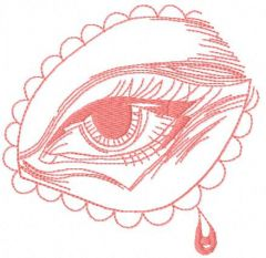 Pink eye embroidery design