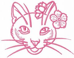 Pink flower cat embroidery design