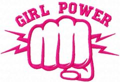 Pink girl power embroidery design