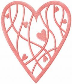Pink heart with hearts embroidery design