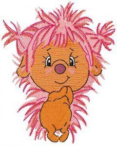 Pink hedgehog embroidery design