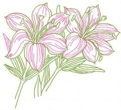 Pink lilies embroidery design