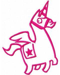Pink llama unicorn embroidery design