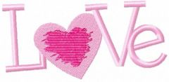 Pink love embroidery design