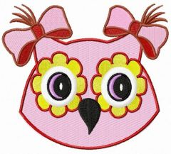Pink owl girl embroidery design