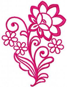 Pink rose one color embroidery design