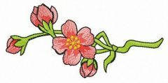 Pink wild rose flower free embroidery design