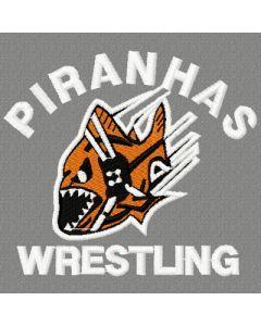 Piranhas Wrestling logo embroidery design