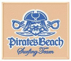 Pirate's beach Surfing team embroidery design