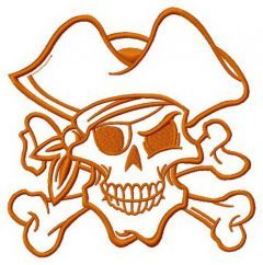 Pirate's skull 3 embroidery design