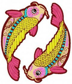Zodiac sign Pisces embroidery design