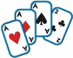 Playing card embroidery design