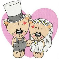 Plush bride and groom embroidery design