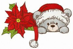 Poinsettia and cute teddy embroidery design
