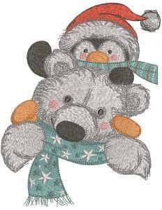 Polar bear bring penguin embroidery design