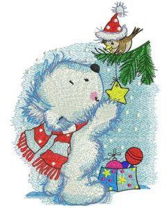Polar bear decorates New Year tree embroidery design