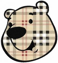 Polar bear face applique embroidery design