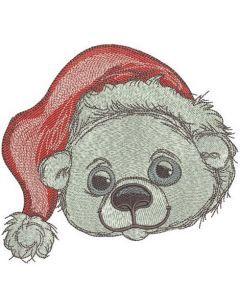 Polar bear in Santa hat 2 embroidery design