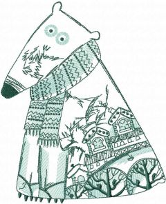 Polar bear winter pattern embroidery design