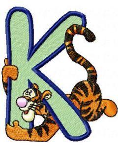 Tigger Alphabet Letter K embroidery design