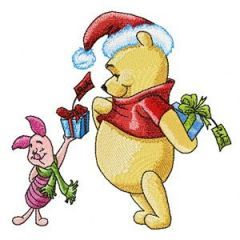Winnie Pooh and Piglet with gifts embroidery design