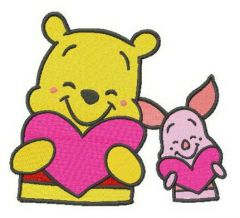 Pooh and Piglet with Valentine cards embroidery design
