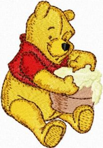 Winnie Pooh with honey embroidery design