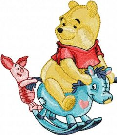 Winnie Pooh and Piglet riding Rocking Horse embroidery design