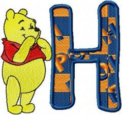 Pooh Alphabet letter H embroidery design