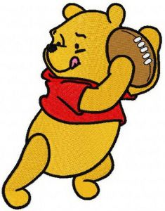 Pooh plays rugby machine embroidery design