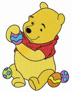 Pooh preparing for Easter embroidery design