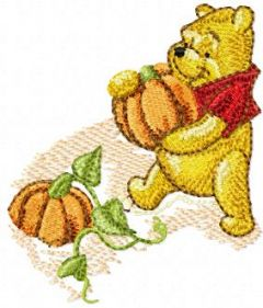 Winnie Pooh and pumpkins embroidery design